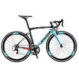 SAVADECK Warwind3.0 Carbon Rennrad 700C Kohlefaser Rahmen Fahrrad mit Shimano SORA R3000 18-Fach Kettenschaltung und Doppel-V-Bremse (blau, 52cm)