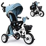 Fascol Dreirad 6 in 1 Kinderwagen Klappbar Kinderdreirad mit Lenkbarer Schubstange Fahrrad für Kinder ab 6 Monate bis 5 Jahren mit 360° Drehsitz, Gummiräder,...