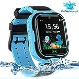 LDB Smartwatch Kinder Phone, Wasserdichter Smartwatch Tracker für Kinder Wecker Touchscreen Micro Chat SOS Zwei Wege Mathe Spiel, Jungen und Mädchen (Blau)
