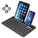 Jelly Comb Bluetooth Tastatur, Multi-Device Bluetooth-Tastatur wiederaufladbar QWERTZ Layout Funktastatur für Tablet, Smartphone, PC, Laptop, Smart TV,...