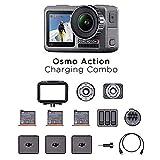 DJI Osmo Action Charging Combo - Digitalkamera mit Zubehör-Kit enthalten, 2 Bildschirmen, wasserdicht bis zu 11 m, integrierte Stabilisierung, Foto und Video...