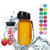 """720°DGREE Trinkflasche """"uberBottle"""" – 350 ml, 0,35 l, Gelb - Neuartige Tritan Wasser-Flasche - Water Bottle BPA Frei - Ideale Sportflasche für Kinder,..."""