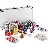 Maxstore Ultimate Pokerset mit 300 hochwertigen 12 Gramm METALLKERN Laserchips, inkl. 2X Pokerdecks, Alu Pokerkoffer, 5X Würfel, 1 x Dealer Button, Poker, Set,...