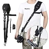 Sugelary Kameragurt Schnellverschluss Neopren Schwarz Kamera Tragegurt Schultergurt Gurt für Canon Nikon Sony Fujifilm Olympus DSLR SLR