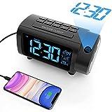 LIORQUE Projektionswecker Radiowecker Digital Wecker mit Projektion 180°, Radio, Snooze, Wochenendmodus, USB, Ladefuntion, Temperatur, 2-Farb-Ziffern und...