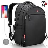 Laptop Rucksack Herren Damen Schwarz - RFID Schutz Anti Theft Backpack - SWISS Design Rucksack wasserdicht Regenschutz - USB Rucksack für Business Schule...