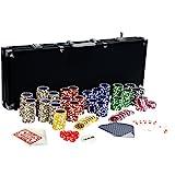 Ultimate Black Edition Pokerset, 500 hochwertige 12 Gramm METALLKERN Laserchips, 100% PLASTIKKARTEN, 2x Pokerdecks, Alu Pokerkoffer, 5x Würfel, 1x Dealer...