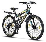 Licorne Bike Strong D (Schwarz/Blau/Lime) 26 Zoll Mountainbike Fully, MTB, geignet ab 150 cm, Scheibenbremse vorne und hinten, Shimano 21 Gang-Schaltung,...