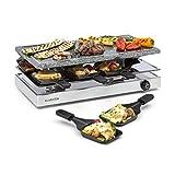 Klarstein Gourmette Raclette mit Naturstein-Platte - Raclette-Grill, Party-Grill, 8 Personen, 1200 Watt, Thermostat, stufenlos regulierbar, Edelstahl-Gehäuse,...