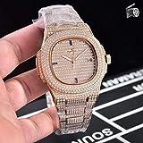 DFGHU Automatische Mechanische Uhr Der Luxusmarke Damen Saphir Voll EIS Diamant Transparent Silber Roségold wasserdichte Mode Mechanische Uhr