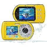 Wasserdichte Kamera FHD 1080P 24 MP, 16-fach Zoom Unterwasser-Digitalkamera, Selfie Dual Display 2,7- und 2,0-Zoll-Bildschirm DV-Aufnahme 10M (100 Zoll)...