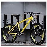 Mountainbike, 26 Zoll Outdoor-Reisefahrrad 21-Gang Variable mechanische Scheibenbremse vorne und hinten,Yellow