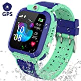 PTHTECHUS GPS Smartwatch Kinder Armband - GPS Uhr Kinder Smart Watch Kleine für Mädchen Junge, Intelligente Armbanduhr Kinder Telefon Anruf SOS (GPS G012 - Blau)