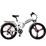 Unisex Double Suspended Mountain Bike 26 Zoll Gesamt Rad 21 Geschwindigkeit Schüler Pendler City Klapprad,White-48V10ah