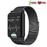 armo Fitness Armband ECG+PPG mit Pulsmesser Wasserdicht IP67 Fitness Tracker Aktivitätstracker Pulsuhren Smartwatch (Metall schwarz)