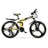 Mountainbike 26-Zoll 27-Gang / 21-Gang / 24-Gang All-in-One-Rad Doppelt Stoßdämpfendes Cross-Country-Falt-Mountainbike gelb, Geschenk für Männer und Frauen...