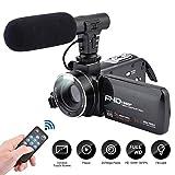 Videokamera-Camcorder, 3,0-Zoll-IPS-Touchscreen FHD 1080P-Vlogging-Kamera mit Blitz, 24-Megapixel-Digital-Camcorder mit externem Mikrofonlautsprecher 16-fach...