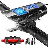 U UZOPI Fahrradbeleuchtung, wasserdicht, Fahrradlicht, USB, wiederaufladbar, 4 Modi, LED Fahrrad vorne & hinten, leistungsstarkes Licht für Mountainbikes,...