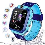 PTHTECHUS Kinder Intelligente Uhr Wasserdicht, Smartwatch LBS Tracker mit Kinder SOS Handy Touchscreen Spiel Kamera Voice Chat Wecker für Jungen Mädchen...