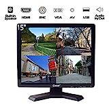 15-Zoll Profi CCTV-Monitor VGA HDMI AV BNC, 4:3 HD-Display (LED-Hintergrundlicht) 1024x768 Pixel LCD-Sicherheitsbildschirm mit USB-Laufwerksplayer für Heim- /...