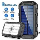 Solar Powerbank 26800mAh 2020 Neuestes Solarladegerät Qi Wireless Tragbares Ladegerät Schnelles Aufladen Externer Akku mit 4 Ausgängen(3 USB+Qi)/2 Eingabe...