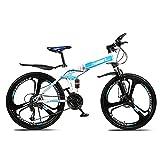 Mountainbike 26-Zoll 27-Gang / 21-Gang / 24-Gang All-in-One-Rad Doppelstoßdämpfung Cross-Country-Falt-Mountainbike Blau, geeignet für Männer und Frauen...