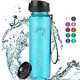 """720°DGREE Trinkflasche """"uberBottle"""" crystalClear +Sieb - 500 ml - BPA-Frei, Auslaufsicher - Für Kinder, Schule, Sport, Fitness - Schmale Wasserflasche aus..."""