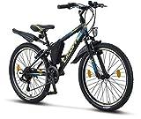 Licorne Bike Guide (Schwarz/Blau/Lime), 24 Zoll Kinderfahrrad, geeignet für 8, 9, 10, 11 Jahre, Shimano 21 Gang-Schaltung, Mountainbike mit Gabelfederung,...