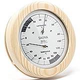 Fischer 196TH-03 - Sauna-Thermohygrometer - 150mm Haar-Hygrometer und Bimetall-Thermometer aus Kiefer - Made in Germany