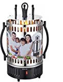 Grill Tischgrill Vertikalgrill mit Spirale Vertikal Elektrogrill Schaschlik Schaschlikgrill Hähnchen Gyros Döner 6 Schaschlikspieße