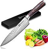 PAUDIN Kochmesser Küchenmesser 20cm Profi Messer Chefmesser Allzweckmesser aus hochwertigem Carbon Edelstahl, Extra Scharfe Messerklinge mit ergonomischer...