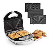 Klarstein Trilit 3-in-1 Sandwich Maker Panini Maker Kontaktgrill Waffeleisen, 750 Watt, 3 austauschbare Aluminium-Grillplatten, Anti-Haft-Beschichtung,...
