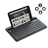 Jelly Comb Kabellose Tastatur, Bluetooth Funktastatur mit Dual-Kanal für Android/Windows Tablet, iOS iPad, Smartphone, Handy, Mac OS, QWERTZ Deutsches Layout,...