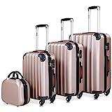Monzana® Baseline 4er Set Koffer Rose-Gold  Beautycase M, L, XL Gelgriffe Zahlenschloss  Reisekoffer Trolley Kofferset Rollkoffer