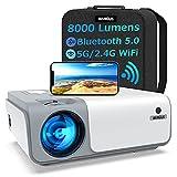 Beamer, WiMiUS 8000 Lumen 1080P Full HD Beamer 5G WiFi Bluetooth Beamer LED Heimkino Projektor Unterstützung 4K Video mit 4D Trapezkorrektur&-50% Zoom