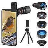 Handy Objektiv Linse Kit, Lens Set 22X Zoom Teleobjektiv, 25X Makro Objektiv, 0,62X Weitwinkel, 235° Fischaugenobjektiv für IOS iPhone und meisten Android...