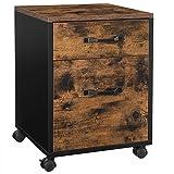 VASAGLE Rollcontainer, Aktenschrank, Büroschrank mit 2 Schubladen, Rollen, für Dokumente in DIN A4 und Letter-Format, mit Hängeregistratur, Industrie-Design,...