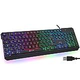 KLIM Chroma Gaming Tastatur QWERTZ DEUTSCH mit Kabel USB + Langlebig, Ergonomisch, Wasserdicht, Leise Tasten + RGB Gamer Tastatur für PC Mac Xbox One X PS4...
