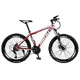 Mountainbikes 26 Zoll Fahrrad mit Gabelfederung & Beleuchtung 21-Gang Shimano Scheibenbremsen Hardtail MTB, Trekkingrad Herren Bike Mädchen-Fahrrad,...