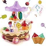 INFANT MOMENT Eiswagen 17PCS Kinder Trolley Spielzeug, Montagespielhausspielzeug mit Musik und Lichtern, Essen mit automatischer Drehfunktion für Kinder über...
