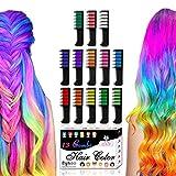 Byhoo Haarkreide-Set mit 13 Farben, temporäre Haarfarbe, Glitzer-Haarkreide-Kämme für Mädchen, Kinder, auswaschbare Farbe, Haarfärbekamm, Geschenk zum...