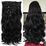 Neverland Beauty 22'Full-Kopf-Klipp in den Haar-Verlangerungen Ombre Wavy Curly Dip Dye 7Pcs 16 Clips Hair Extensions Hairpiece Natural Black