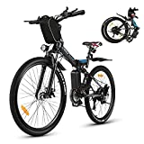 Vivi Elektrofahrrad E-Bike Herren und Damen,26 Zoll E-Bike Mountainbike 350W, 36V 10Ah Lithium-Batterie und Shimano 21-Gang Schwarz
