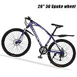 KaiKai Mens Hybrid Bike Hardtail Mountain Bikes 26' MTB 27 Speed-High-Carbon Stahl Gravel Road Fahrräder Doppelscheibenbremse Federgabel, Weiß, 40 Speichen...