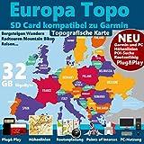 ►Europa Karte 32GB micro-SD-Card Class 10 GPS Topo Karte für Garmin Geräte – Navigation Wandern, Bergsteigen, Fahrrad, Radfahren, Radtour , Topografische...