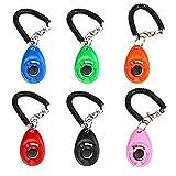Mgrett Hunde Clicker, 6 Stück Klicker, 6 Farben Training Klicker mit Spiralarmband, Profi Clicker für Hunde, Katzen, Pferde, Haustier