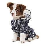 Idepet Hund Regenmantel Regenjacke Mit Kapuze, Haustier Hund Wasserdichter Mantel Ultraleichter Outdoor Regen Poncho Jumpsuit Mit Geschirr Loch (L, Blau)