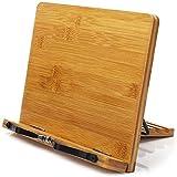 BINSENI Buchständer, Rezeptbuchständer, Buchhalter zum Lesen, Küche, mit 2 Metall-Seitenhalter, hergestellt aus umweltfreundlichem Bambus, perfekt für...