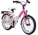 BIKESTAR Premium Sicherheits Kinderfahrrad 16 Zoll für Jungen und Mädchen ab 4-5 Jahre  16er Kinderrad Classic  Fahrrad für Kinder Pink & Weiß