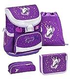 Belmil ergonomischer Schulranzen Set 4 -teilig für Mädchen 1, 2 Klasse Grundschule/Super Leicht 750-800 g/Brustgurt/Einhorn, Unicorn/Lila, Purple (405-33 You...